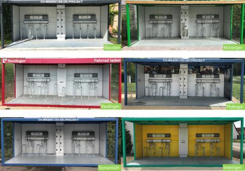 Mehrere ChargerCubes in verschiedenen Farben und mit verschiedenen Aufschriften.
