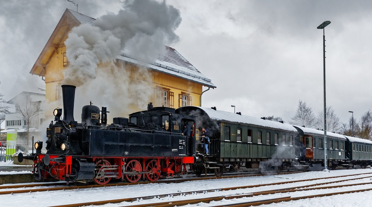 Alb Bahn in Münsingen im Winter