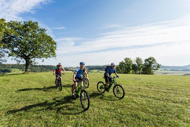 Drei Radfahrer*innen fahren mit E-Bikes lächelnd über eine Wiese. Der Himmel ist blau mit ein paar Wolken, es ist warm.