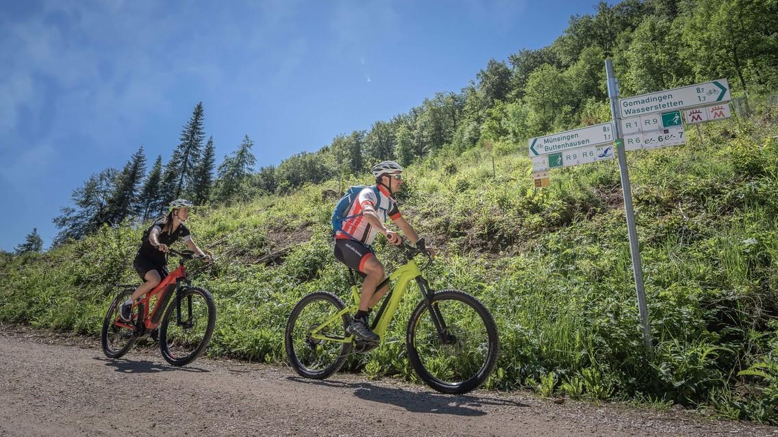 Zwei Radfahrer*innen fahren mit e-Bikes auf einem Schotterweg an einem Wegweiser vorbei. Neben ihnen ist ein Hang mit Wald. Der Himmel ist blau.