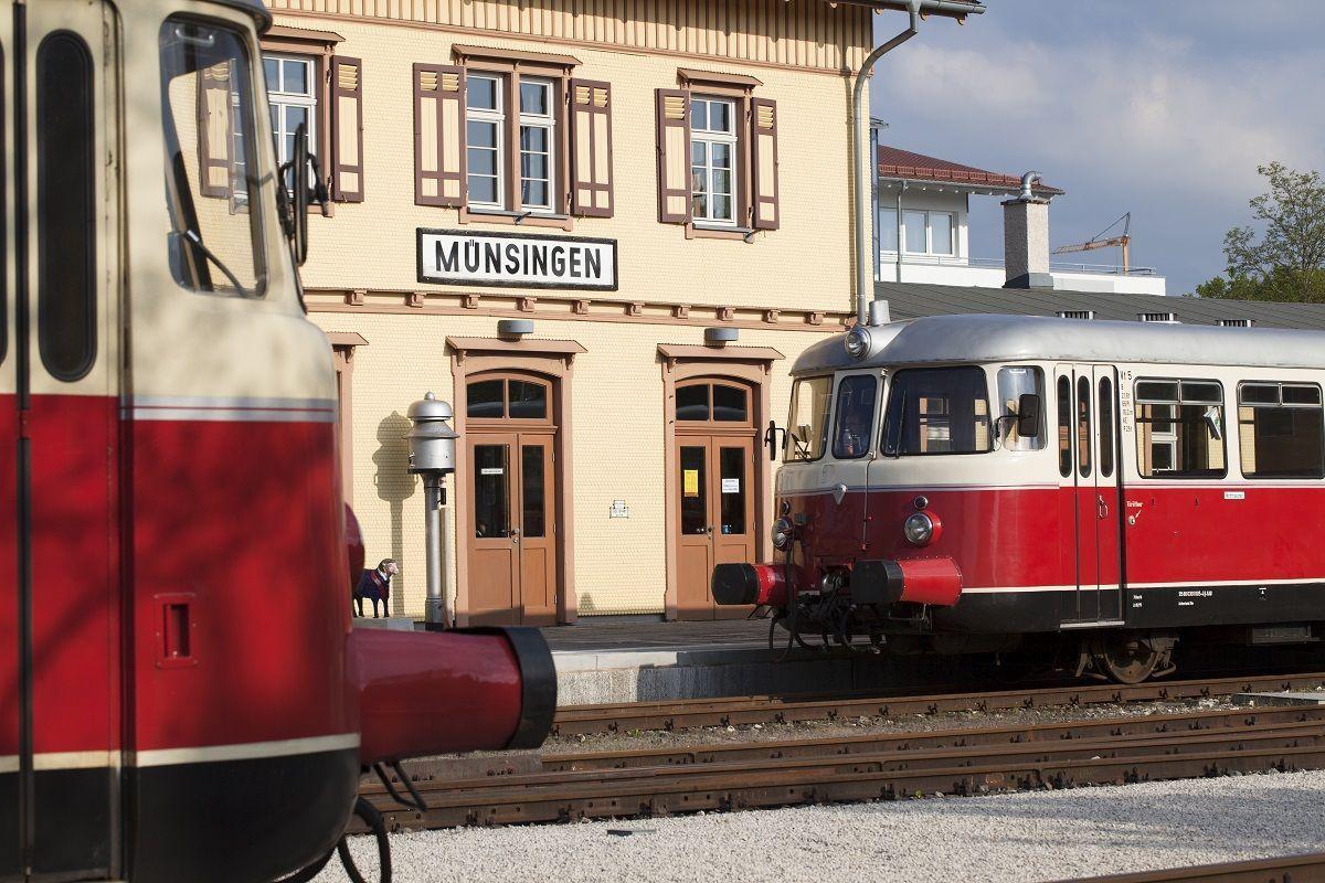 Der Bahnhof in Münsingen.