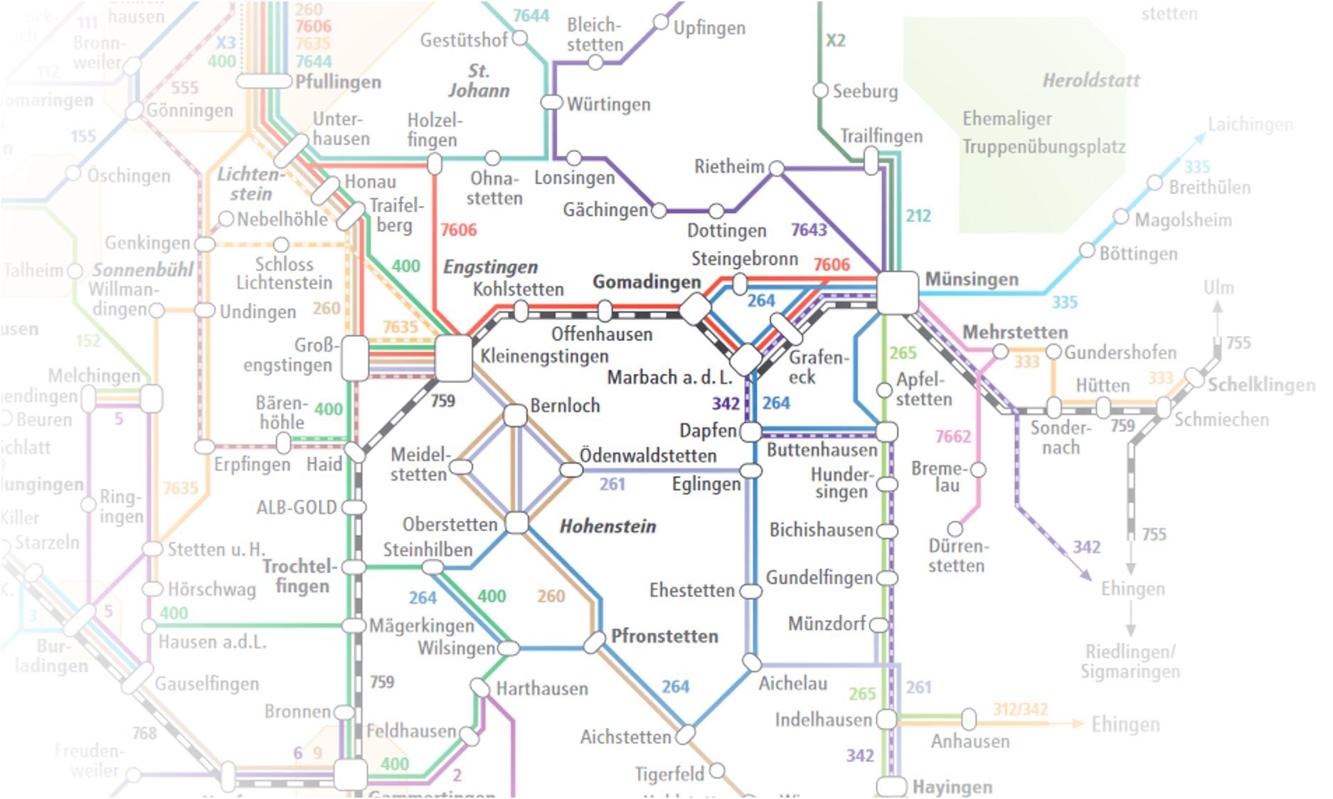 Ein Auszug eines Liniennetzes rund um Münsingen, St. Johann, Hohenstein und Lichtenstein.