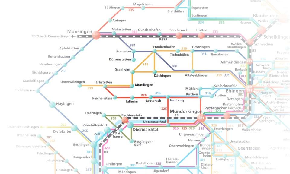 Ein Auszug eines Liniennetzes rund um Münsingen, Munderkingen und Schelklingen.