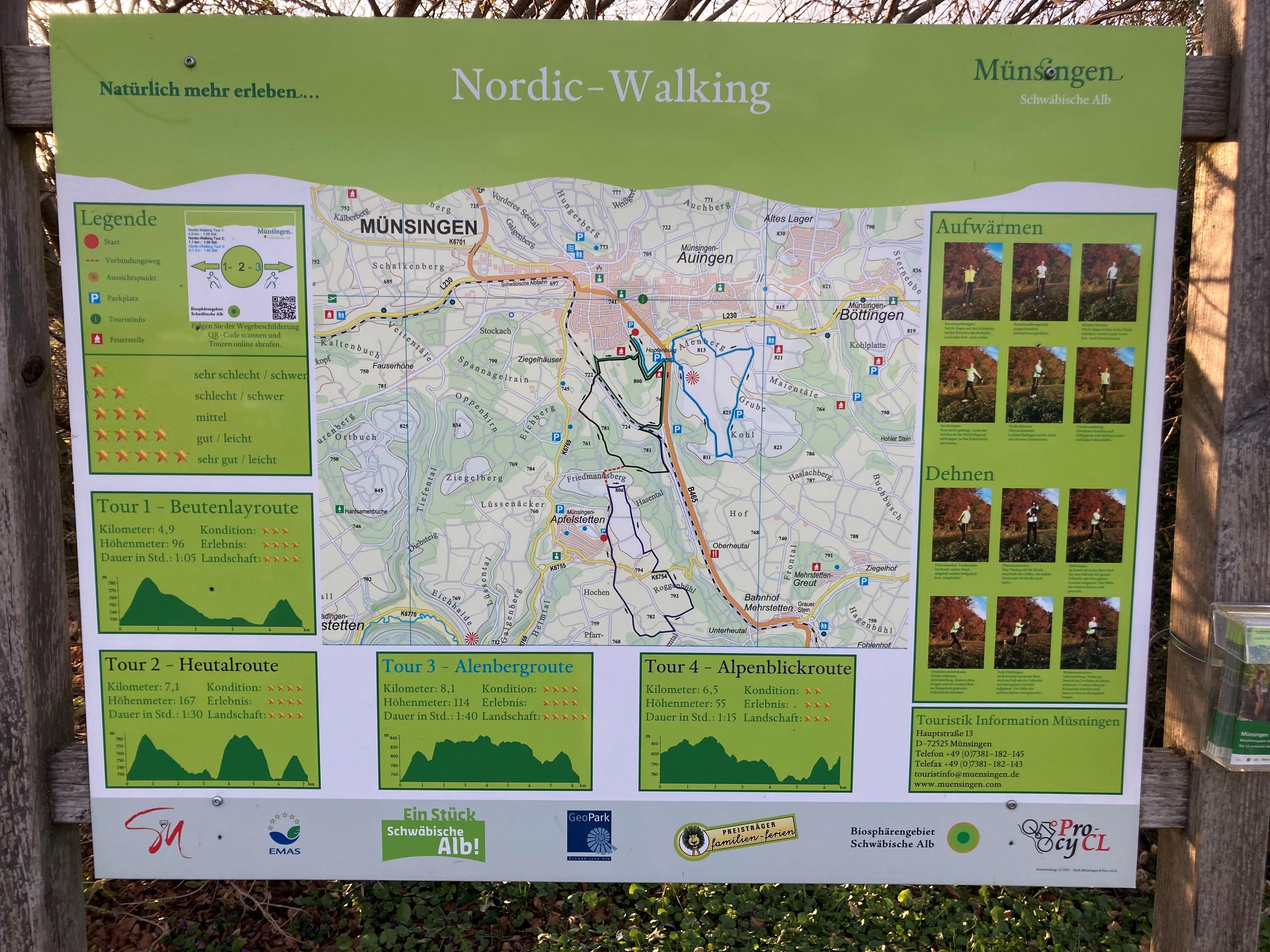 Ein grünes Schild mit der Aufschrift Nordic Walking, einer Karte, einer Legende, vier Touren und Aufwärm-Übungen.