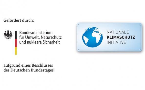 Gerfördert durch: Logo des Bundesministerium für Umwelt, Naturschutz und nukleare Sicherheit und Logo der Nationalen Klimaschutz Initiative aufgrund eines Beschlusses des Deutschen Bundestags.